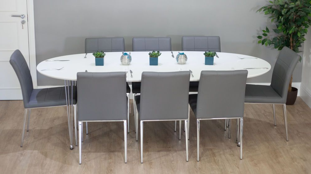 Gray Dining Chairs With Widely Used White Oval Extending Dining Tables (View 12 of 20)