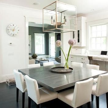 Gray Square Dining Table With White Dining Chairs (View 19 of 20)