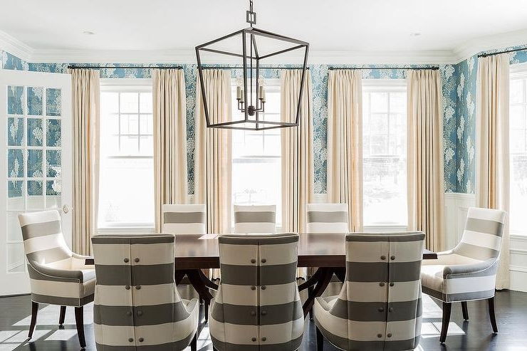 Gray Striped Upholstered Dining Chairs With Ebony Oak Floors Regarding Well Known Blue Stripe Dining Chairs (View 5 of 20)