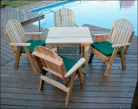 Green Cedar Dining Chairs With Most Recently Released Red Cedar Fanback Patio Dining Set (View 14 of 20)