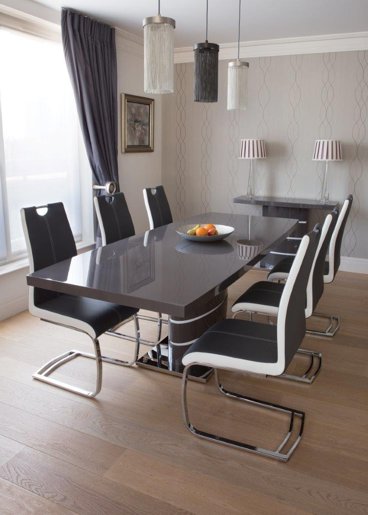 Greenapple Rimini High Gloss Extending Dining Table With Glass Top Pertaining To Most Recently Released Grey Glass Dining Tables (View 6 of 20)
