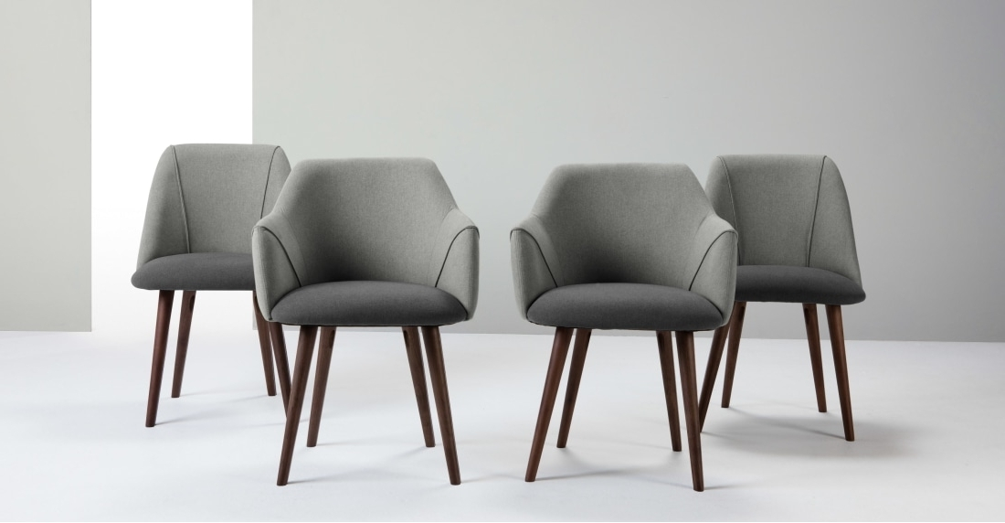 Grey Dining Chairs Throughout Famous Set Of 2 High Back Dining Chairs, Marl And Grey, Lule (View 8 of 20)
