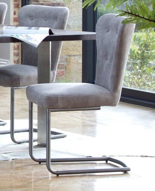 Grey Dining Chairs With Famous Metro Oak Oscar Metal Dining Chair – Grey – Metal Dining Chairs (Gallery 12 of 20)