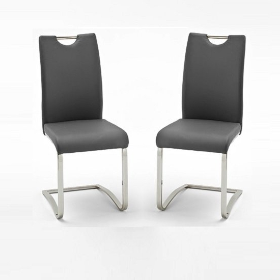 Grey Dining Chairs With Latest Koln Dining Chair In Grey Faux Leather In A Pair  (View 10 of 20)
