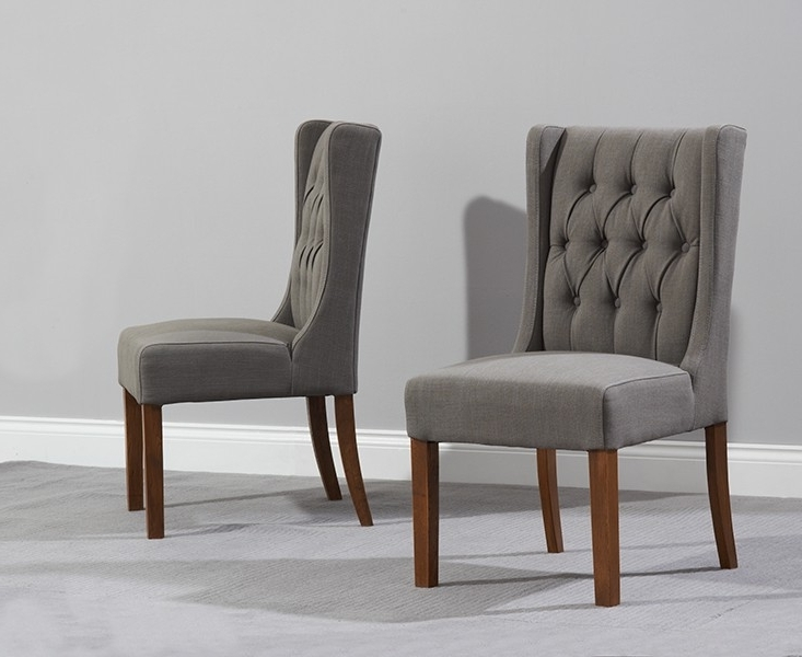 Grey Dining Chairs Within Trendy Pair Of Stefini Grey Upholstered Buttoned Dining Chairs Dark Legs (View 4 of 20)