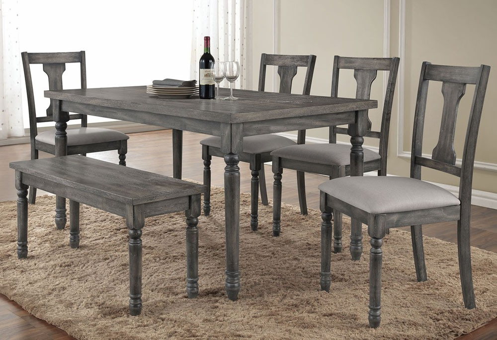 Grey Dining Tables In Recent Olivia Weathered Grey Finish Table Set (View 8 of 20)