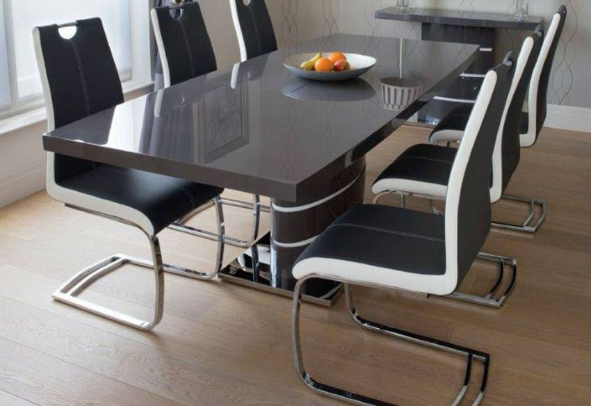 Grey Dining Tables Inside Fashionable Greenapple Furniture – Rimini Lacquered Gloss Grey Or White (Gallery 17 of 20)