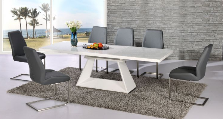 Grey Dining Tables Throughout Preferred Silvano Extending White High Gloss Contemporary Dining Table & Dalia (Gallery 19 of 20)