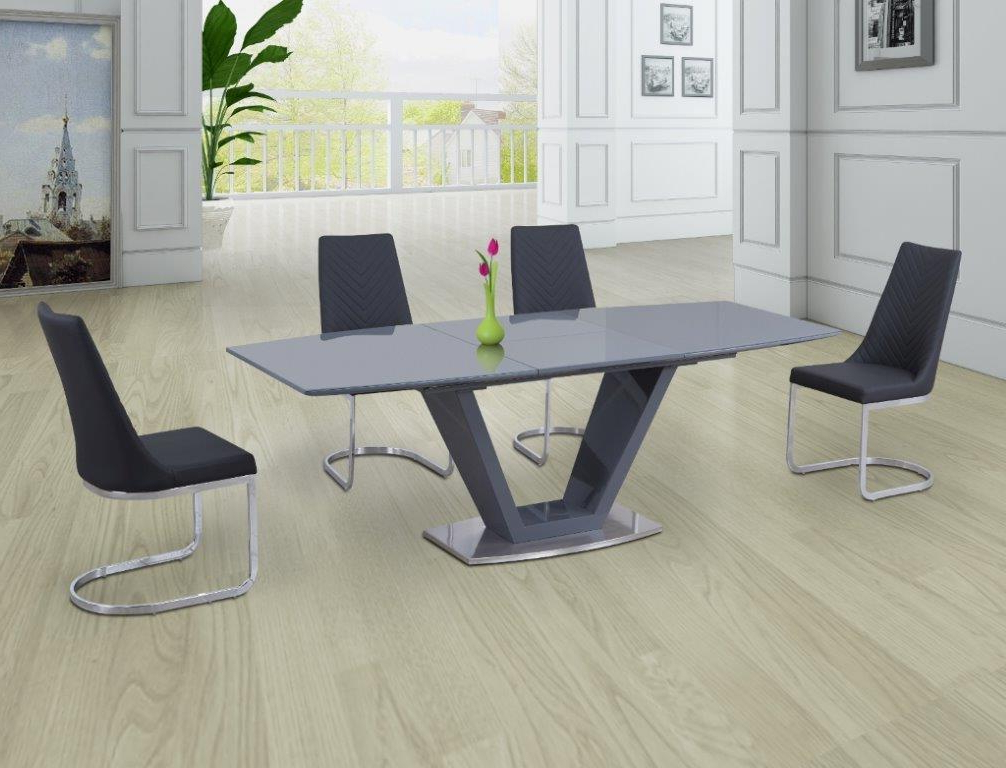 Grey Dining Tables With Regard To 2018 Levanto Grey Extending Dining Table With 6 Corona Grey Chairs (View 11 of 20)