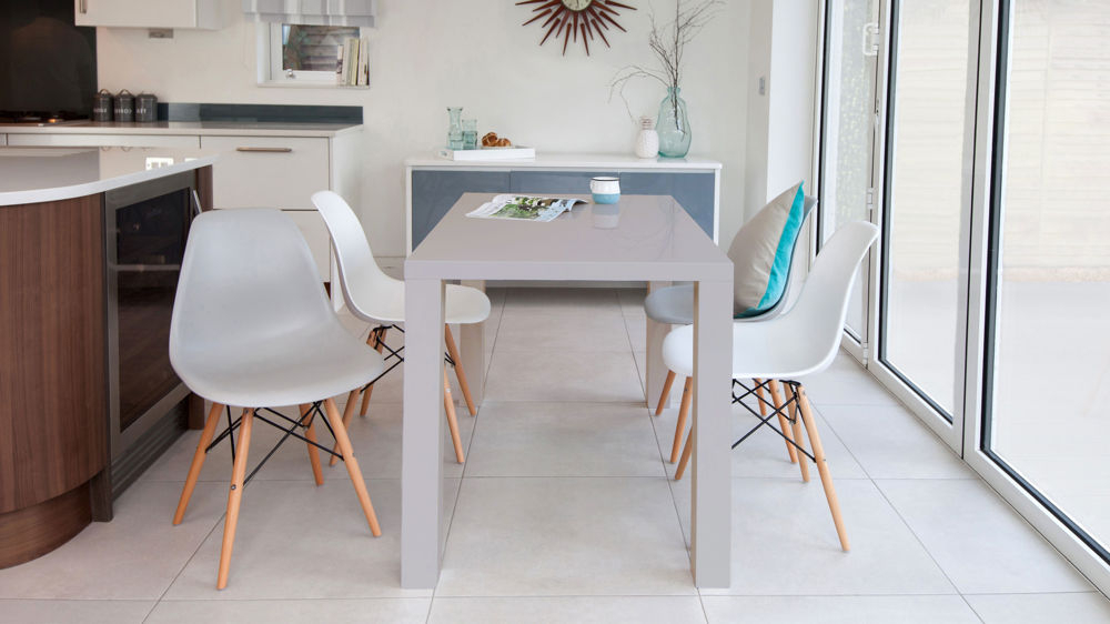 Grey Gloss 4 Seater And Eames Style Dining Set With Newest Grey Gloss Dining Tables (View 3 of 20)