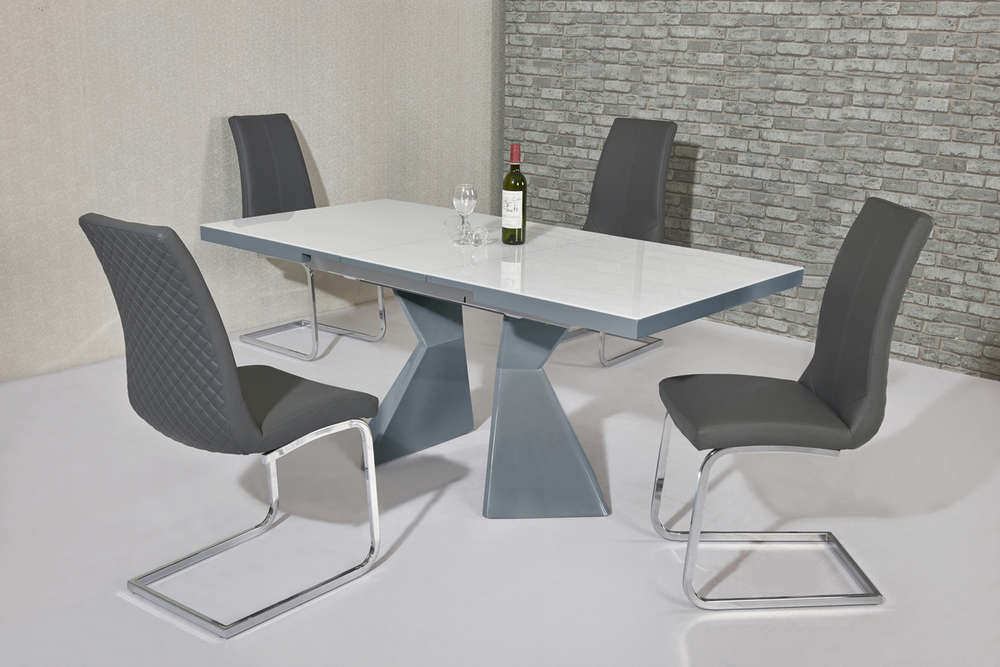 Grey Gloss Dining Tables Inside Most Recent White Glass Grey Gloss Dining Table & 4 Grey Chairs – Homegenies (View 7 of 20)