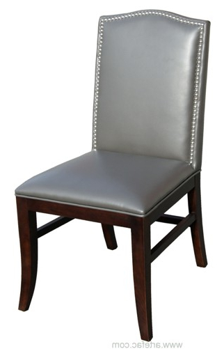 Grey Leather Dining Chairs Inside Favorite Sr 28608 Leather Dining Chair W/espresso Wooden Legs In Grey (View 19 of 20)