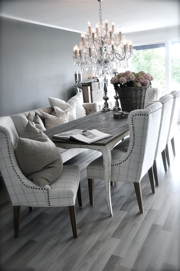 Grey Rustic Dining Table With Beautiful Fabric Chairs. The For Well Liked Grey Dining Tables (Gallery 16 of 20)