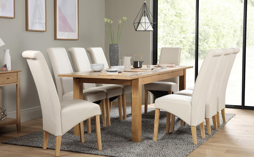 Hamilton 180 230Cm Oak Extending Dining Table With 8 Richmond Cream Throughout Popular Oak Extending Dining Tables And 8 Chairs (View 8 of 20)