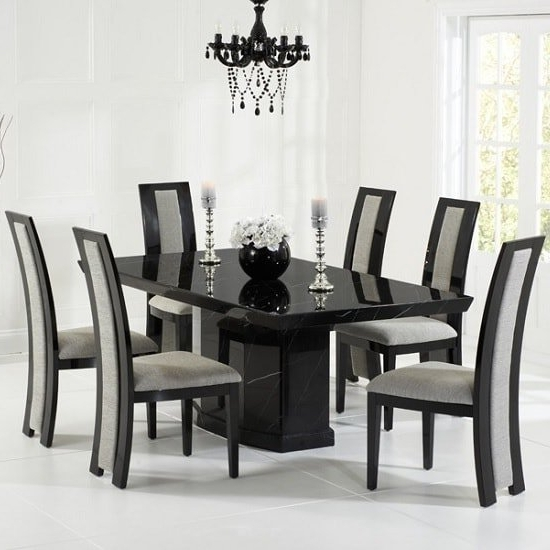 Hamlet Marble Dining Table In Black With 8 Allie Grey Regarding Most Recent Black 8 Seater Dining Tables (Gallery 1 of 20)