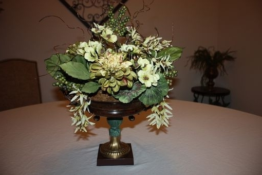 Hand Made Dining Table Centerpiece Silk Flower Arrangement, Home Intended For Famous Artificial Floral Arrangements For Dining Tables (View 9 of 20)