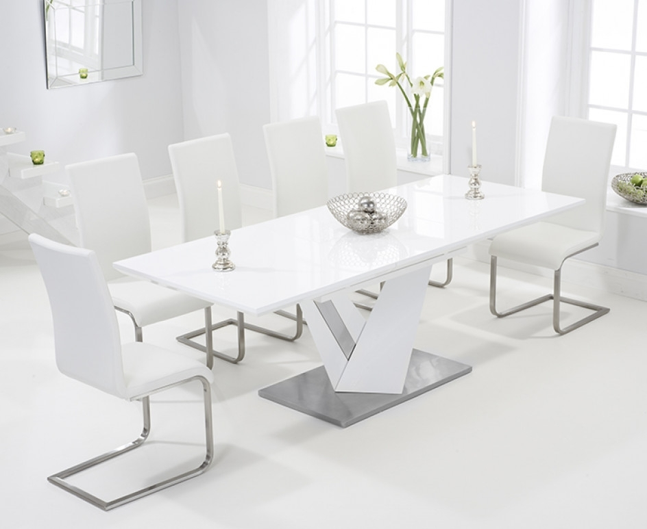 Harmony 160cm White High Gloss Extending Dining Table With Malaga Throughout Popular Black Gloss Extending Dining Tables (View 3 of 20)