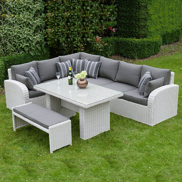 Havana Corner Dining Set & Bench – Pebble Rattan – Outside Edge Throughout Popular Havana Dining Tables (View 6 of 20)