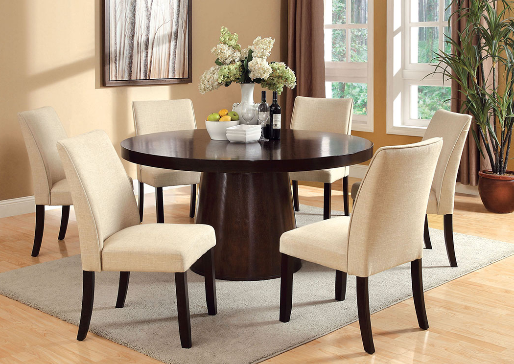 Havana Dining Tables Throughout Recent K & K Custom Furniture Havana Espresso Round Dining Table W/4 Side (Gallery 11 of 20)