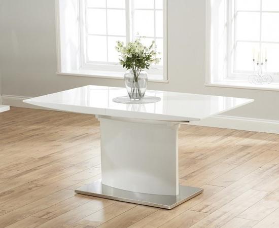 Hayden 160 Cm White High Gloss Extending Dining Table (Gallery 14 of 20)