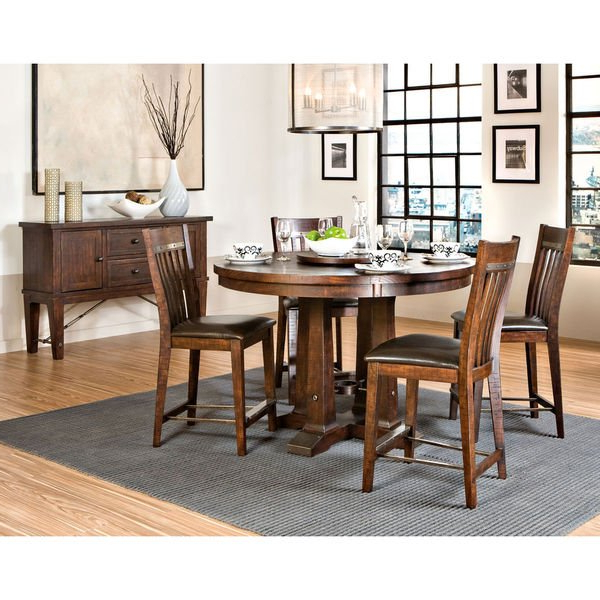 "Hayden Dining Tables With Most Popular Shop Hayden Rough Sawn Espresso 54"" Round Gathering Table – Free (View 14 of 20)"