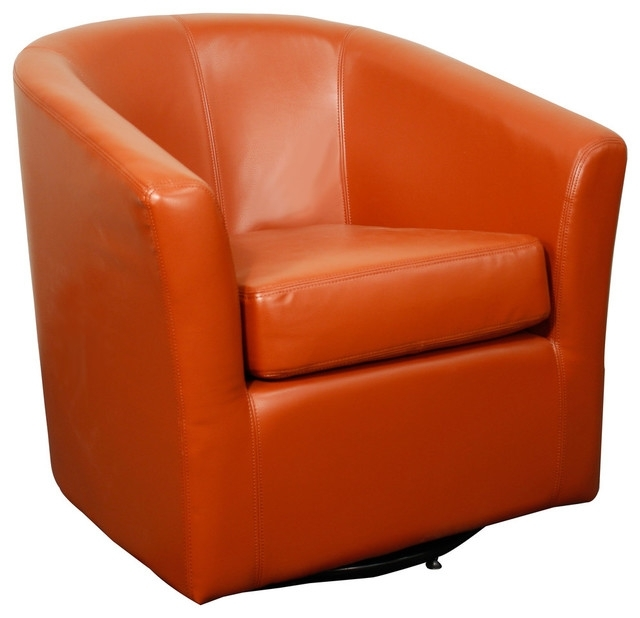 Hayden Swivel Bonded Leather Chair – Contemporary – Armchairs And In Trendy Hayden Cognac Side Chairs (View 9 of 20)