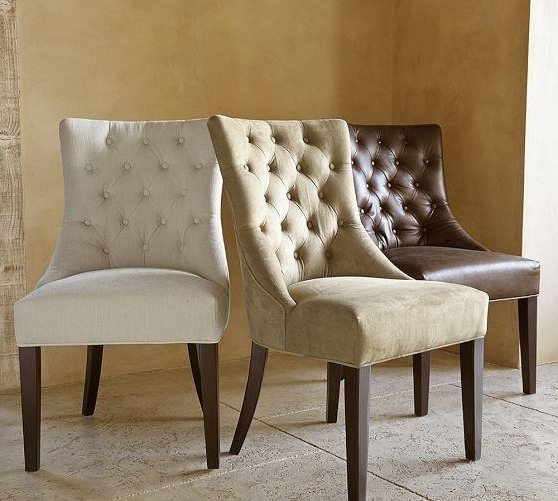 Hayes Side Chairs Within Most Recent Hayes Various Colors Suede Button Tufted Chair (View 5 of 20)
