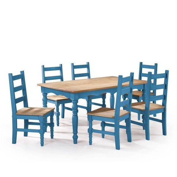 Helms 6 Piece Rectangle Dining Sets With Side Chairs Intended For Widely Used Shop Manhattan Comfort Jay 7 Piece Solid Wood Dining Set With  (View 8 of 20)