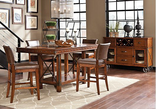 Helms 7 Piece Rectangle Dining Sets With Side Chairs Inside Best And Newest Red Hook Pecan 5 Pc Counter Height Dining Room (View 6 of 20)