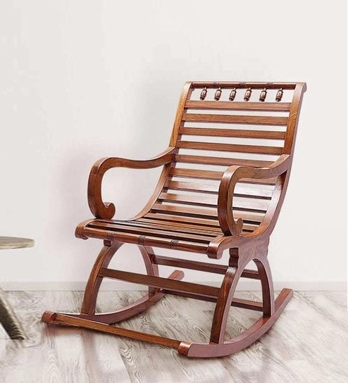 Helms Arm Chairs Regarding Latest Buy Chelmsford Teak Wood Rocking Chair In Composite Teak Finish (View 10 of 20)