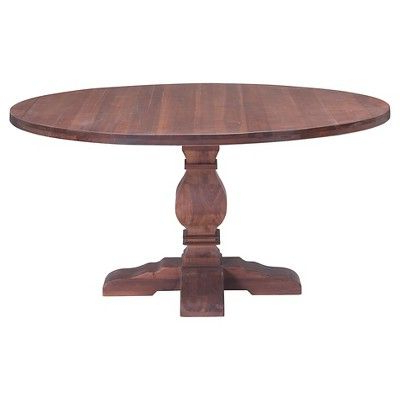Helms Round Dining Tables With Widely Used Classic Carved 60 Round Wood Pedestal Dining Table – Natural – Zm (View 10 of 20)