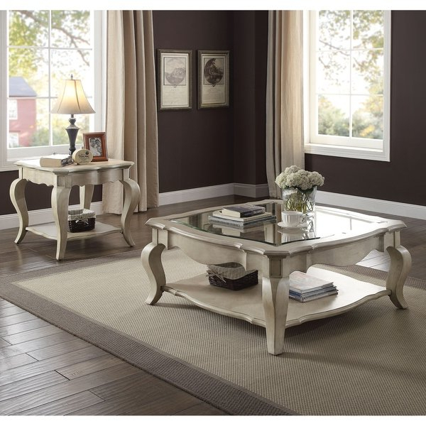 Helms Round Dining Tables Within Well Known Shop Acme Chelmsford Coffee Table, Antique Taupe & Clear Glass (View 16 of 20)