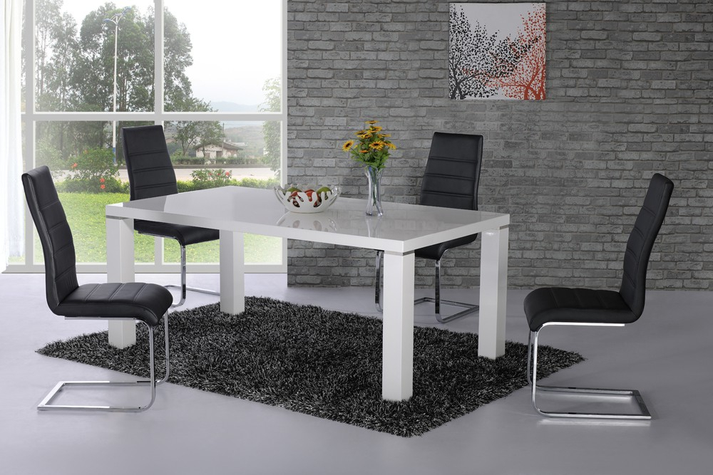 Hi Gloss Dining Tables Sets Inside Current Danata White High Gloss Designer Dining Table – £ (View 7 of 20)