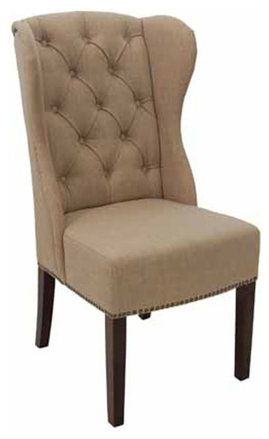 High Back Dining Chairs Inside Most Current High Back Wing Tufted Dining Armchair, Fabric – Transitional (View 7 of 20)