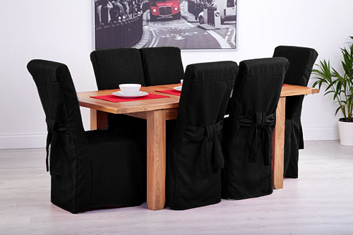 High Back Leather Dining Chairs Pertaining To Best And Newest Set Of 8 Black Linen Fabric Dining Chair Covers For Scroll Top High (View 9 of 20)