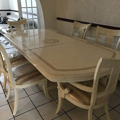 High End Italian Cream Lacquered Dining Table & Chairs – £ (View 8 of 20)