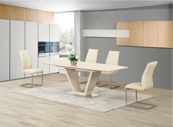 High Gloss Cream Dining Tables Inside Favorite Lorgato Cream High Gloss Extending Dining Table Dtx 2135Cr (View 7 of 20)