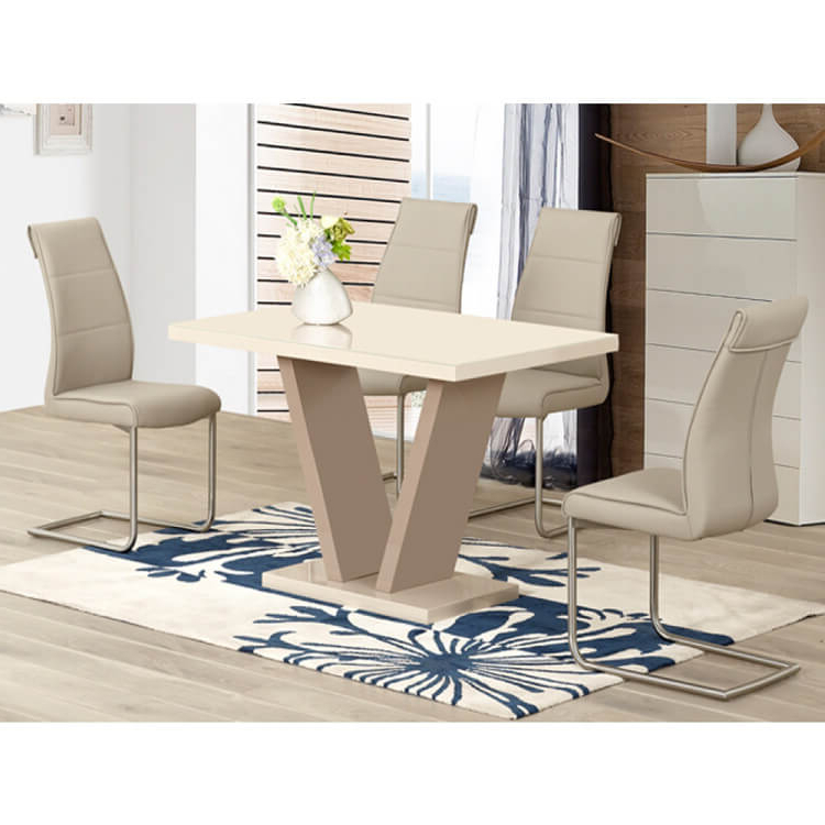 High Gloss Cream Dining Tables Intended For Most Recent Milan Cream High Gloss Dining Set 4 To 6 Seater (View 14 of 20)