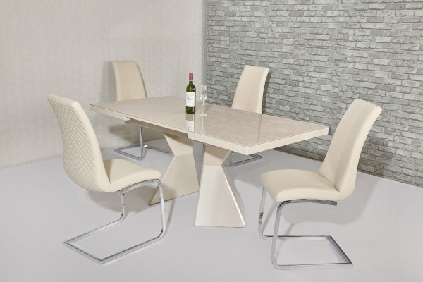 High Gloss Cream Dining Tables Throughout Most Popular Excellent Cream Dining Table Havannah Cream Extendable High Gloss (View 10 of 20)