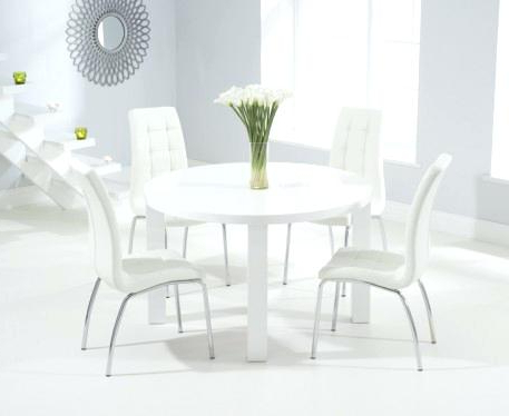 High Gloss Dining Furniture Regarding Latest White High Gloss Dining Table Round With Chairs Ebay – Yourlegacy (Gallery 17 of 20)