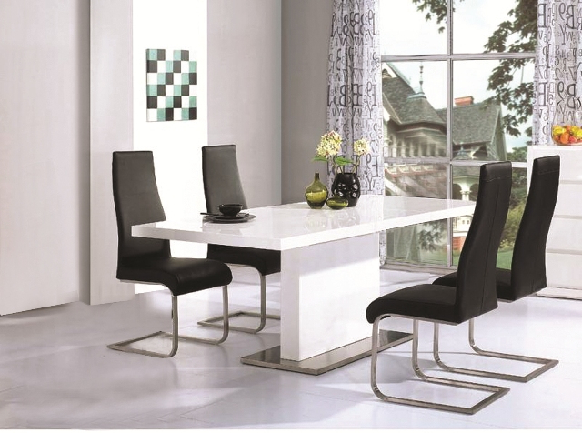 High Gloss Dining Room Furniture Throughout Popular Chaffee High Gloss Dining Table Leather Steel Chairs (View 9 of 20)