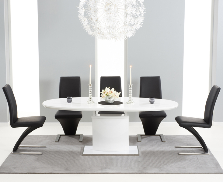 High Gloss Dining Sets In Well Known Seville 180cm White Gloss Dining Set + 6 Black Hereford Chairs (View 11 of 20)