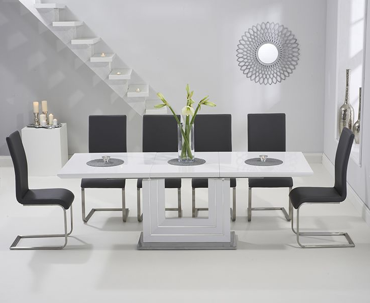 High Gloss Extendable Dining Tables Within Trendy Tula 160cm White High Gloss Extending Dining Table With Malaga (View 13 of 20)