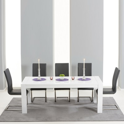 High Gloss Extending Dining Tables Regarding Famous Verone High Gloss Extending Dining Table With 8 Milan Grey Chairs (View 12 of 20)
