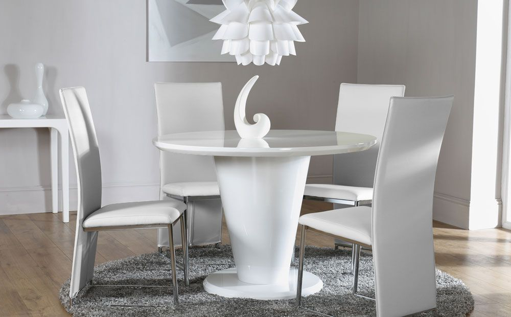 High Gloss Round Dining Tables With Regard To 2017 Paris White High Gloss Round Dining Table And 4 Chairs Set (athens (View 5 of 20)