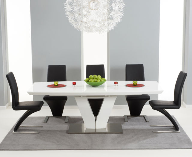 High Gloss White Dining Chairs Pertaining To Well Known Miami 180cm Extending High Gloss White Dining Table & 8 Black Z (View 15 of 20)