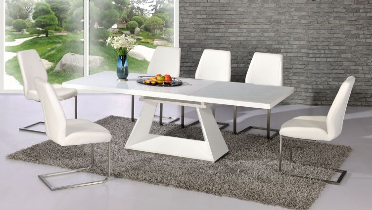High Gloss White Dining Chairs With Regard To Fashionable Silvano Extending White High Gloss Contemporary Dining Table & Dalia (View 4 of 20)