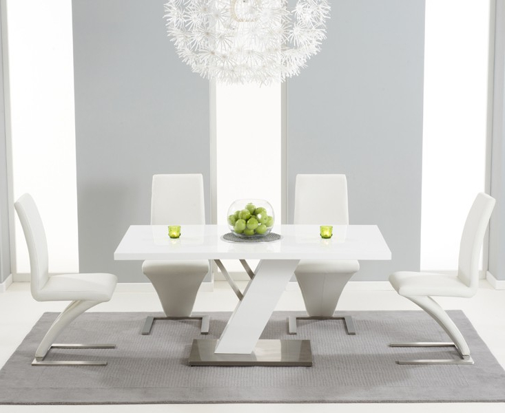 High Gloss White Dining Tables And Chairs Pertaining To Famous Buy Bianco Modern High Gloss White Dining Table Set (View 14 of 20)
