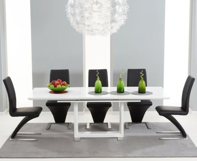 High Gloss White Dining Tables And Chairs Regarding Famous Bella 160cm Extending High Gloss White Dining Table & 8 Black Z (View 6 of 20)