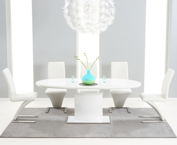 High Gloss White Extending Dining Tables Regarding Current Santana 160cm White High Gloss Extending Pedestal Dining Table With (View 14 of 20)